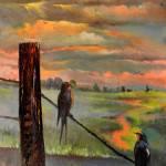 Swallows at sunset_original art on canvas