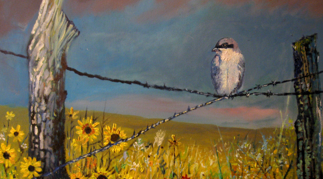 Original art on canvas, original art, oil on canvas, bird, shrike, landscape, landscapes in oils