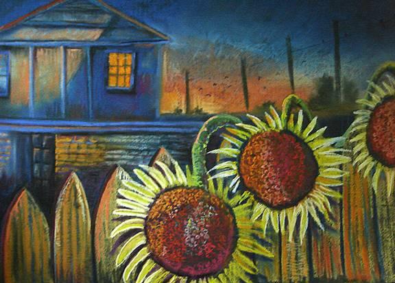 Sunflowers on Fence