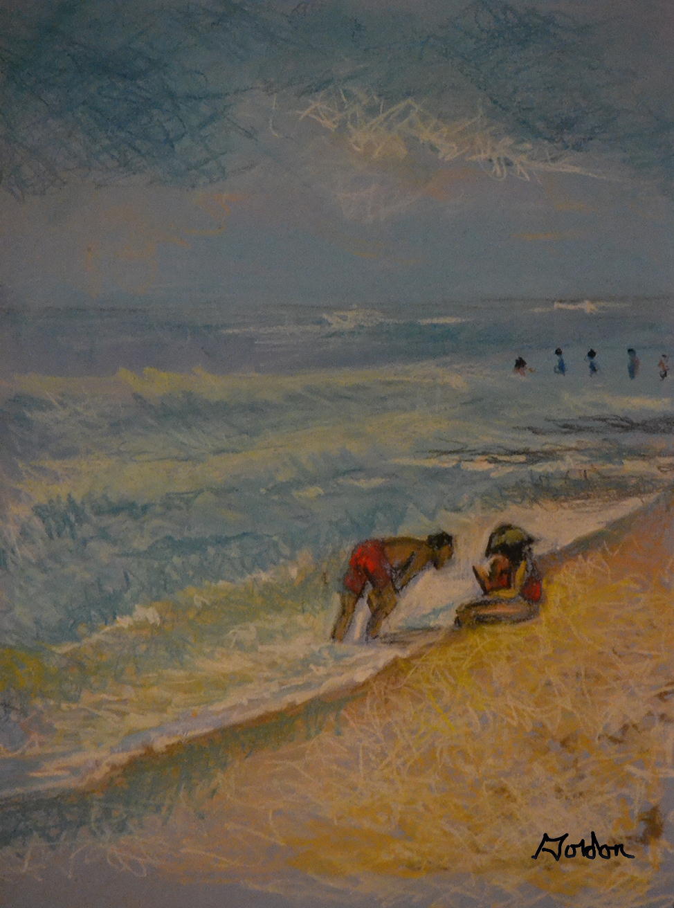Looking for sea shells on the beach child and parents in pastels